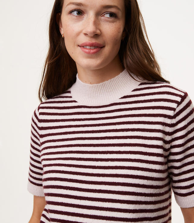 Striped Mockneck Short Sleeve Sweater | LOFT