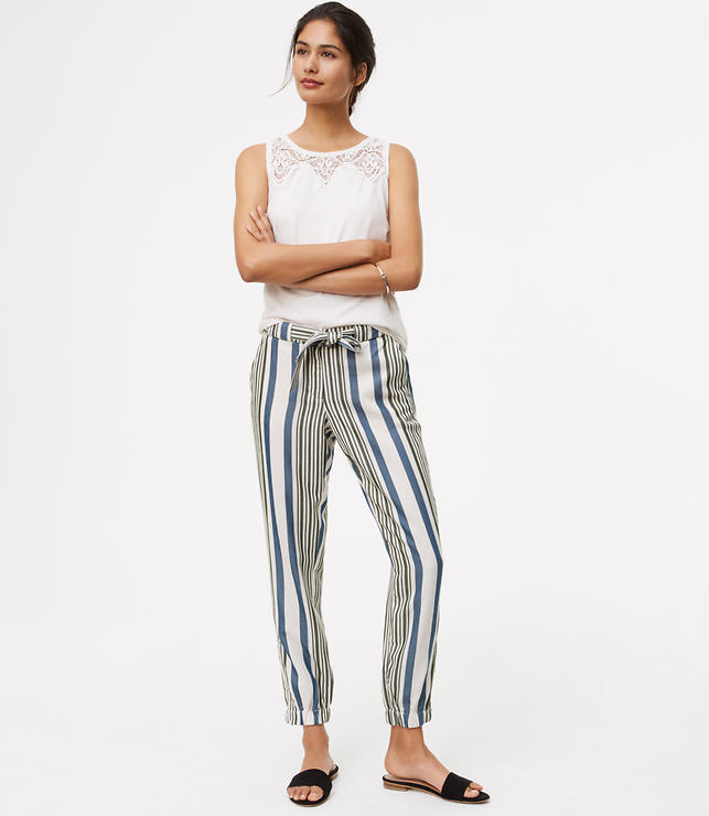 Tall Striped Tie Waist Cargo Pants