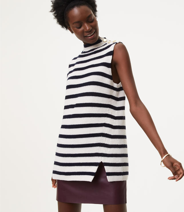 Striped Button Shoulder Sweater Tank