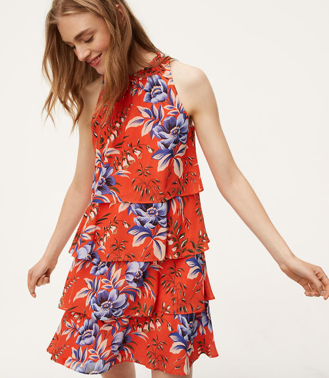 Petite Floral Tiered Dress