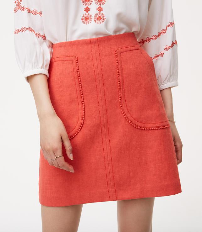 Petite Pom Pom Pocket Shift Skirt