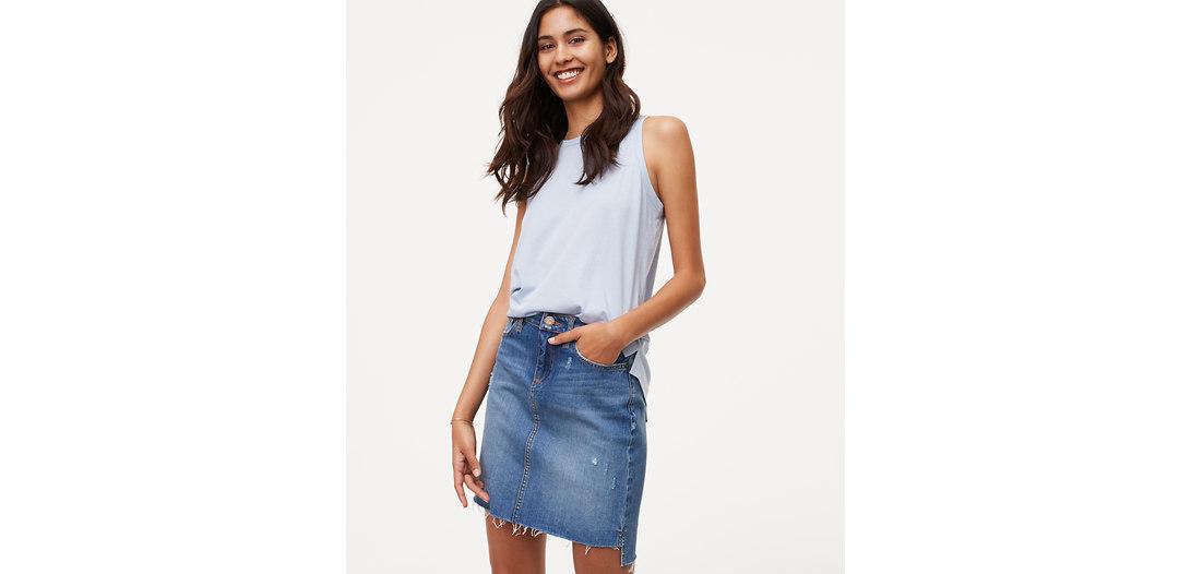 LOFT Step Hem Denim Skirt