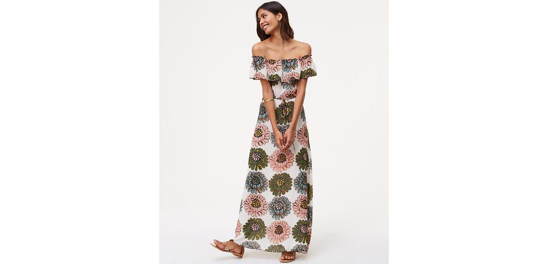 LOFT Marigold Off The Shoulder Maxi Dress