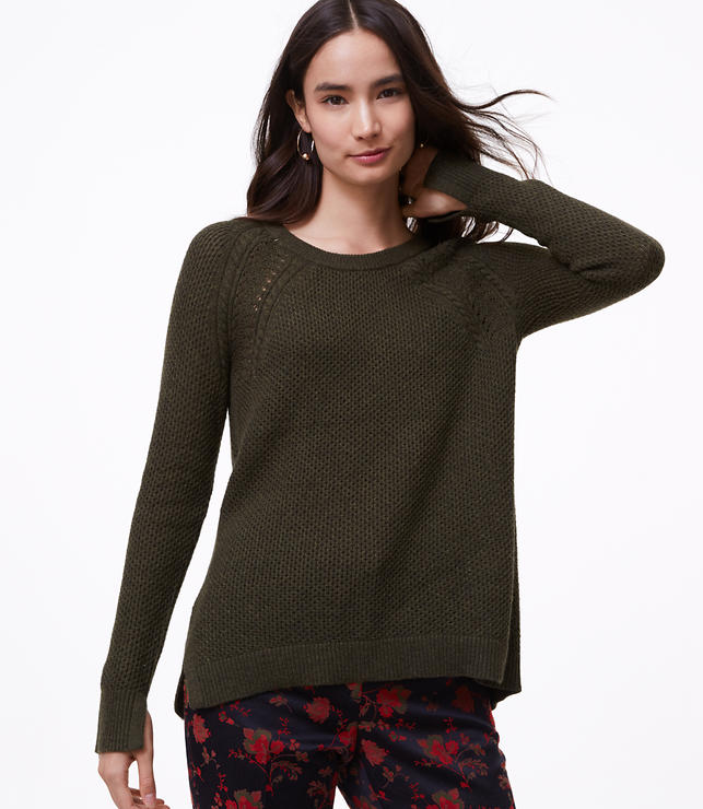 Petite Cable Shoulder Sweater