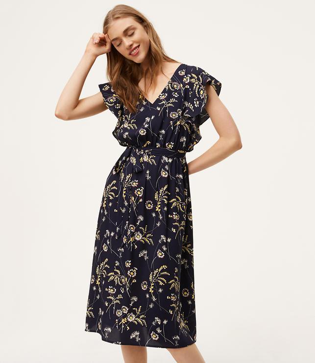 Petite Floral Flutter Midi Dress