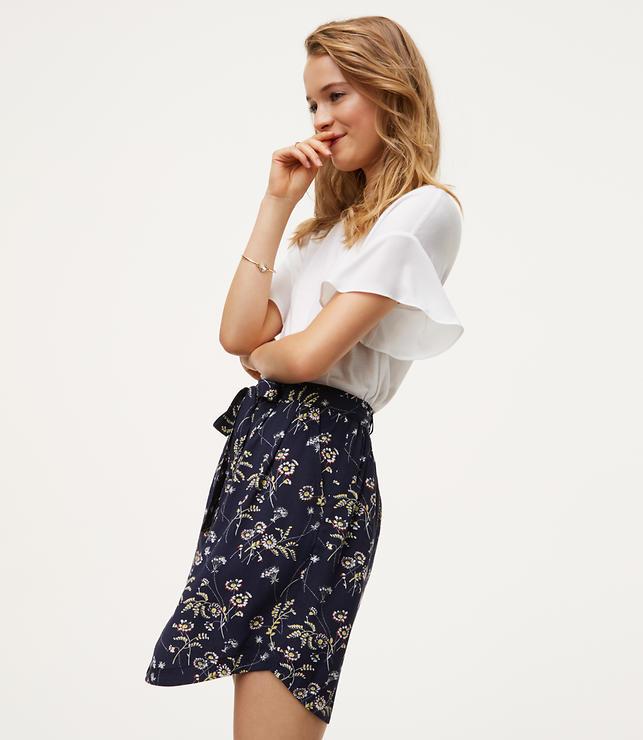 Petite Daisy Tie Waist Button Skirt