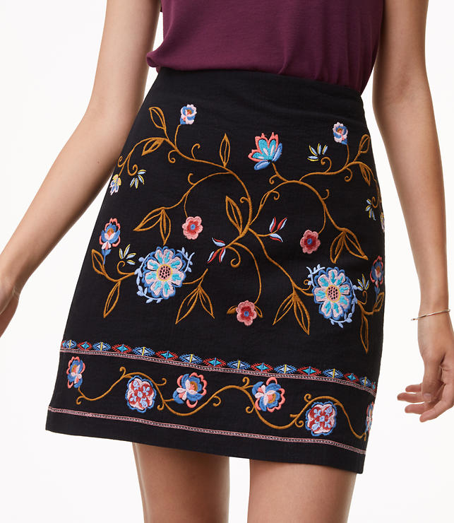 Floral Embroidered Shift Skirt