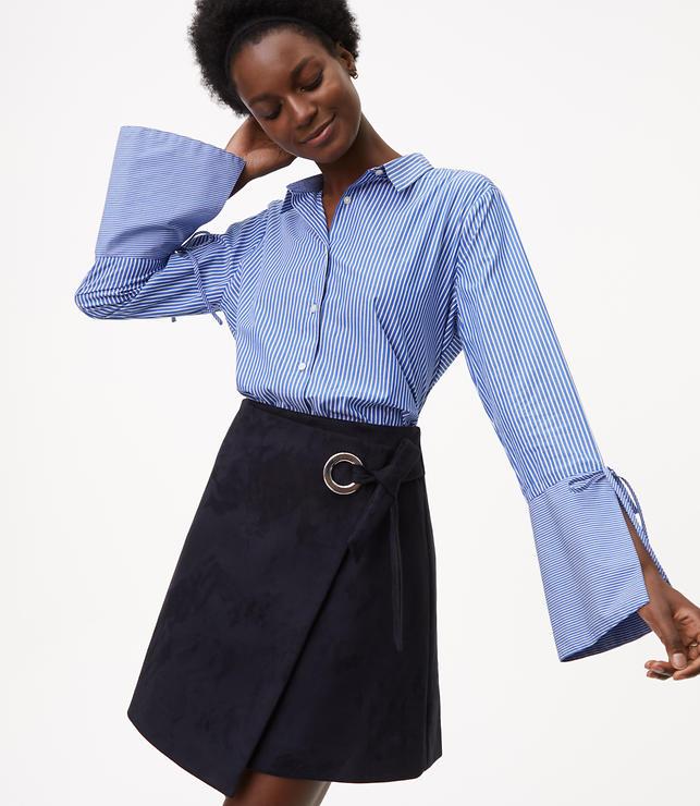 Striped Tie Bell Sleeve Shirt