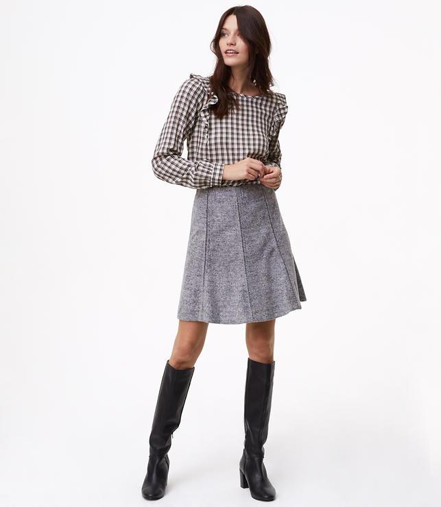 Flecked Seamed Flippy Skirt