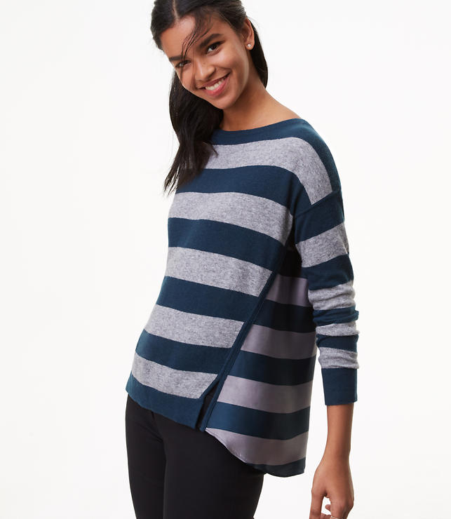 Striped Mixed Media Sweater