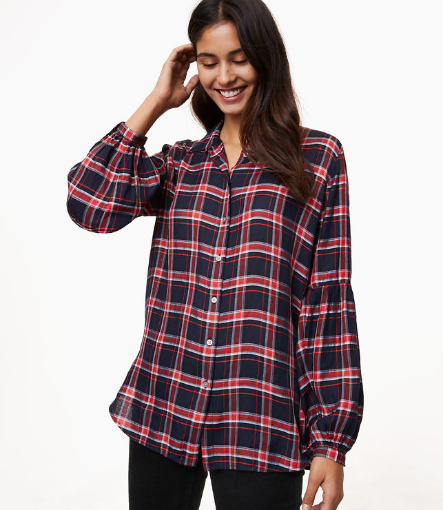 Plaid Blouson Sleeve Tunic