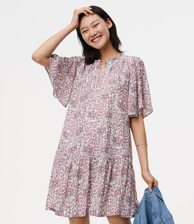Flowerbud Button Sleeve Dress