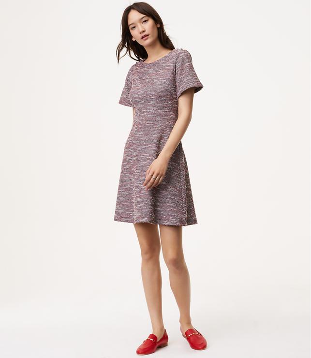 Shimmer Shoulder Button Flare Dress