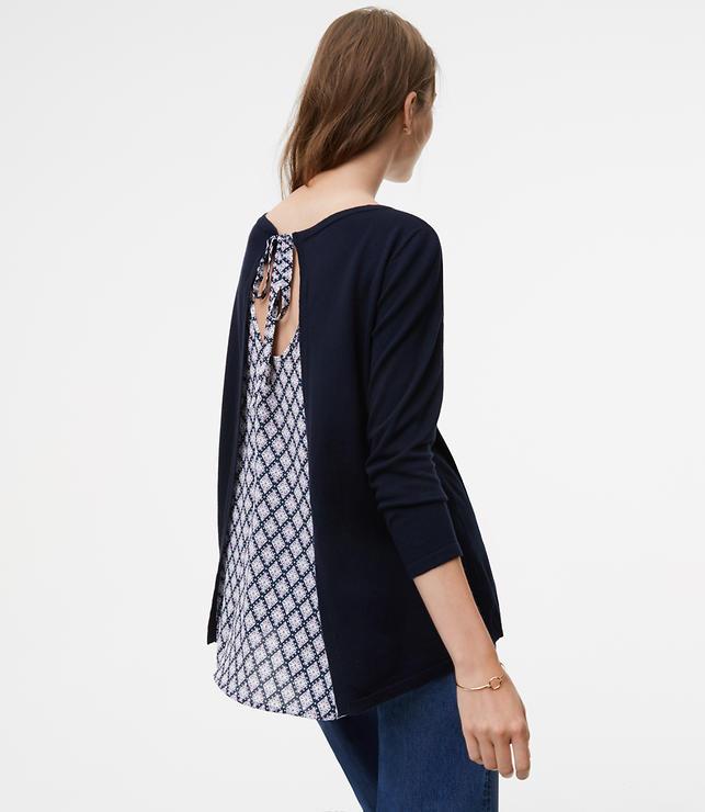Diamond Tie Back Mixed Media Sweater