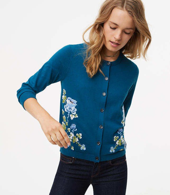 Blossom Embroidered 3/4 Sleeve Signature Cotton Cardigan