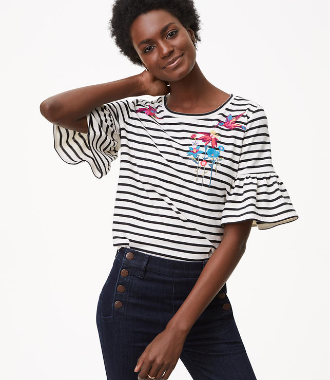 Bird Stripe Ruffle Cuff Top