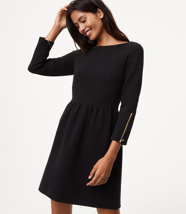 Zip Cuff Flare Dress