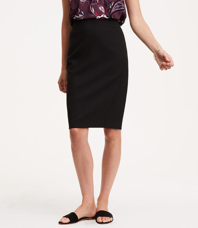 Curvy Seamed Scuba Pencil Skirt