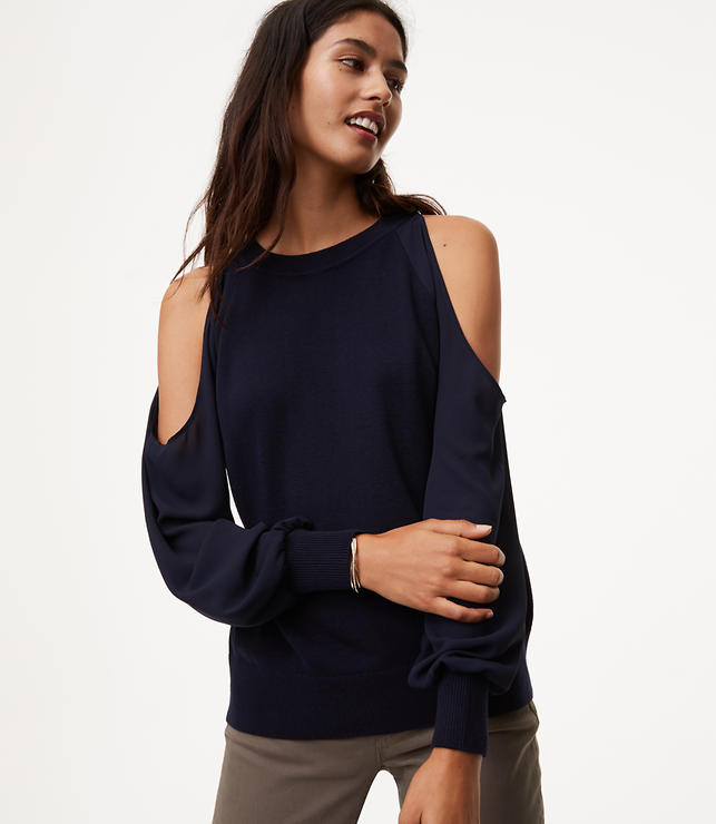 Cold Shoulder Mixed Media Sweater