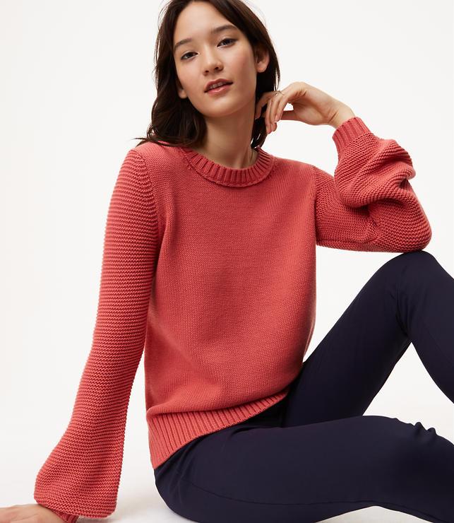 Textured Blouson Sleeve Sweater