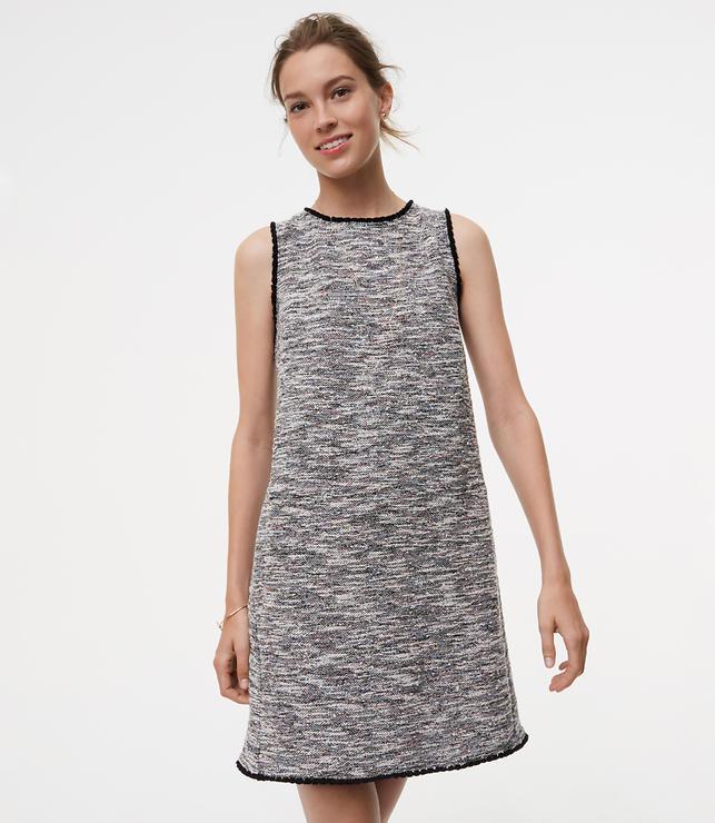Fringe Tweed Shift Dress