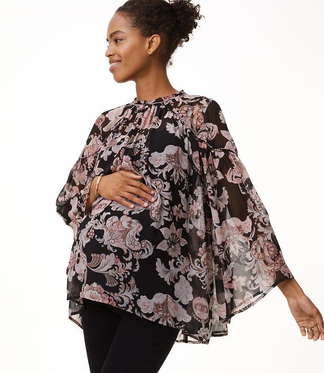 Maternity Royal Floral Blouse