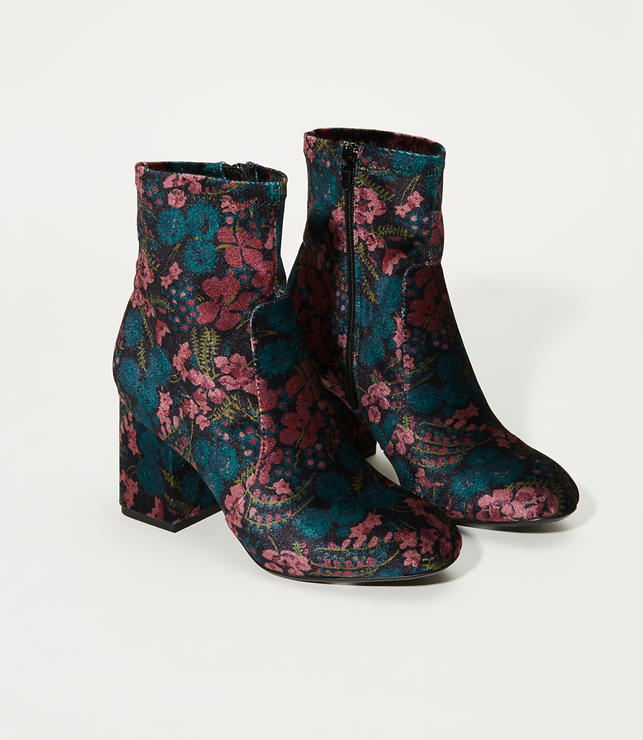 Floral Velvet Stretch Booties
