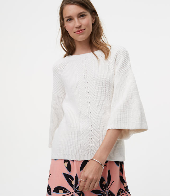Mixed Ribbed Bell Sleeve Sweater