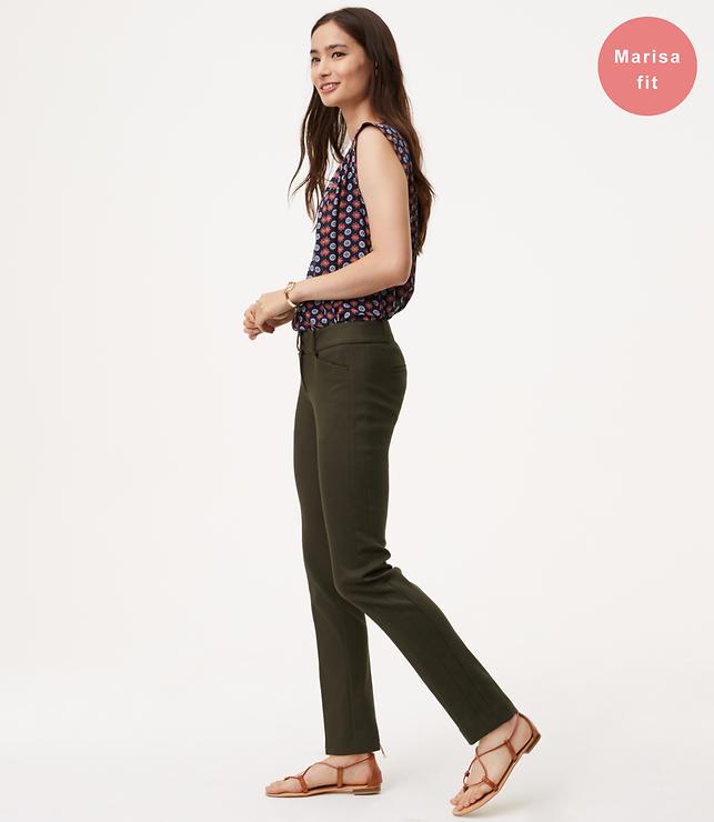 Petite Straight Leg Textured Pants in Marisa Fit