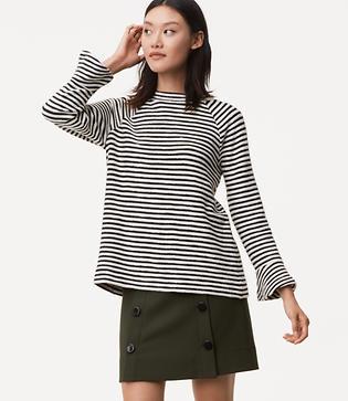 1960s Fashion: What Did Women Wear? LOFT Petite Striped Bell Sleeve Sweatshirt $54.50 AT vintagedancer.com