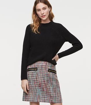 LOFT Zip Pocket Tweed Skirt