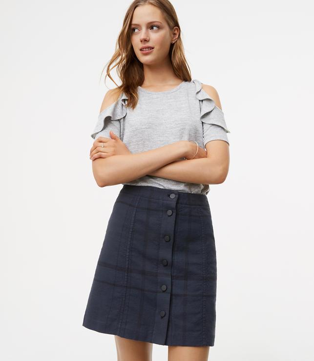 Petite Plaid Button Front Skirt