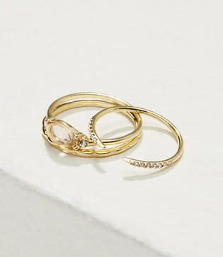 LOFT Delicate Stone Stackable Ring Set