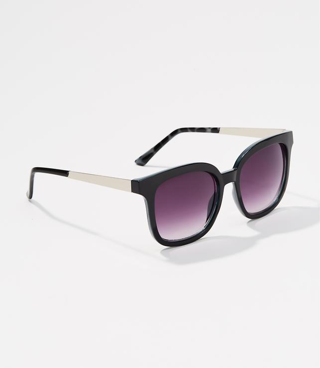 Metallic Arm Square Sunglasses