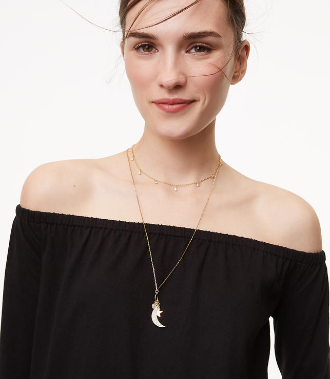 Crystal Moon & Star Pendant Necklace