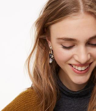 LOFT Crystal Drop Statement Earrings