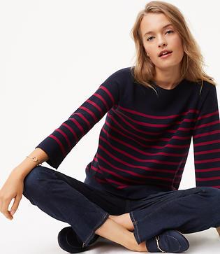 Vintage Sweaters: Cable Knit, Fair Isle Cardigans & Sweaters LOFT Petite Striped Split Back Sweater $59.50 AT vintagedancer.com