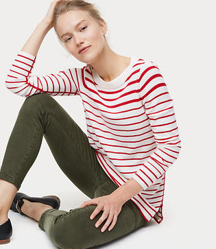 LOFT Modern Striped Tunic Sweater