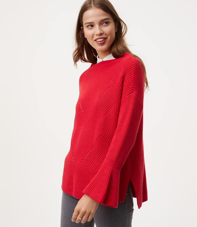 Petite Mockneck Bell Sleeve Sweater