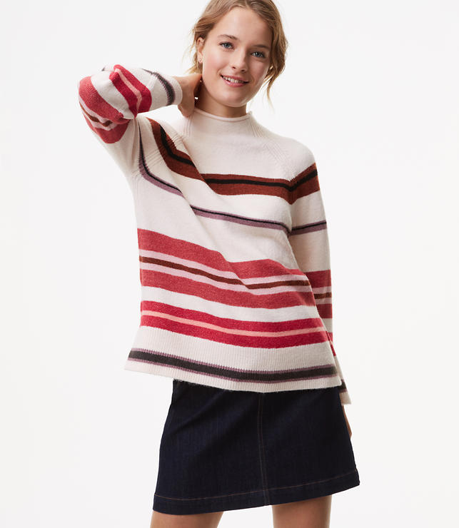 Petite Striped Slit Mockneck Sweater