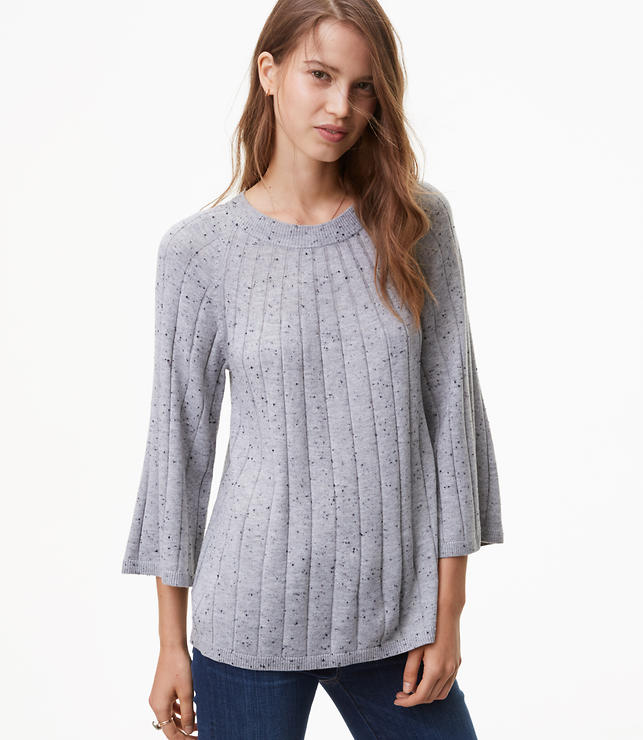 Flecked Ribbed Swing Sweater