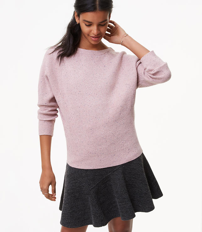 Flecked Ribbed Dolman Sweater