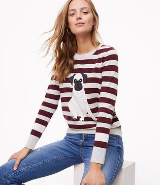 Vintage Sweaters: Cable Knit, Fair Isle Cardigans & Sweaters LOFT Pug Sweater $59.50 AT vintagedancer.com