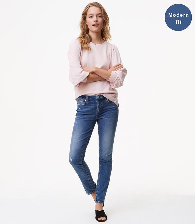 Modern Skinny Jeans in Destructed Light Indigo Wash