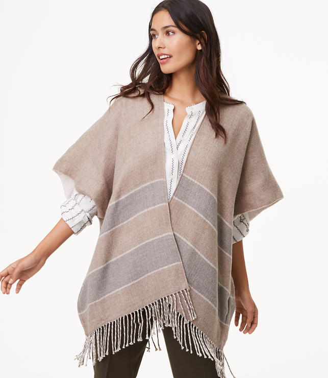 Reversible Striped Fringe Poncho