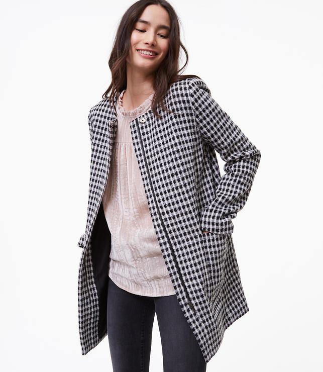 Brushed Check Coat
