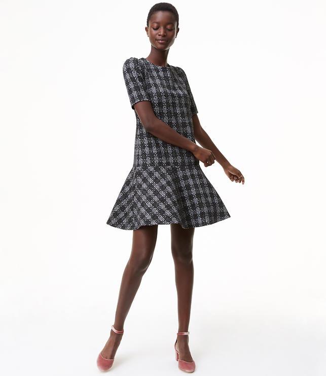 Plaid Knit Flounce Dress