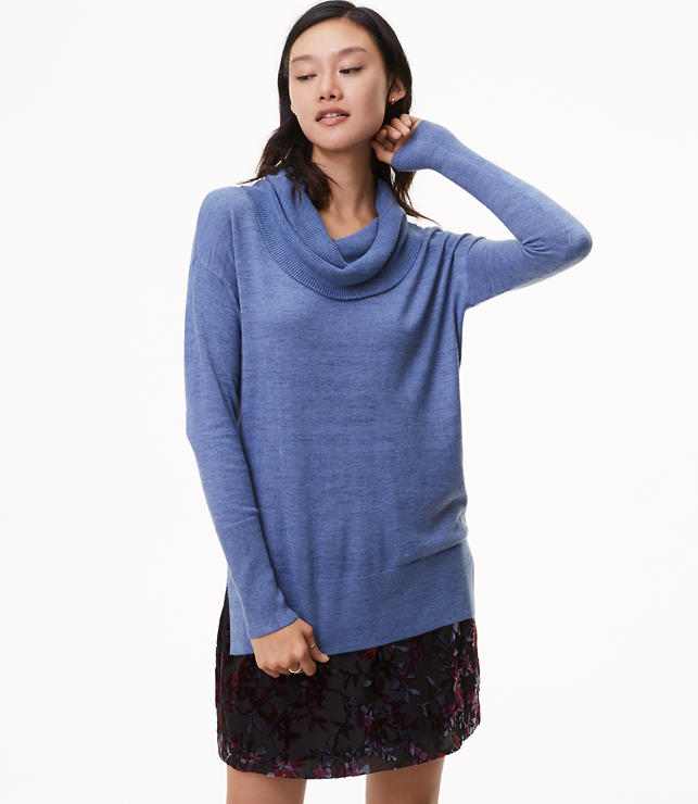 Heathered Cowlneck Tunic Sweater