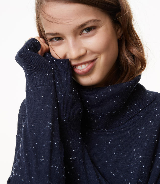 Flecked Relaxed Turtleneck Sweater