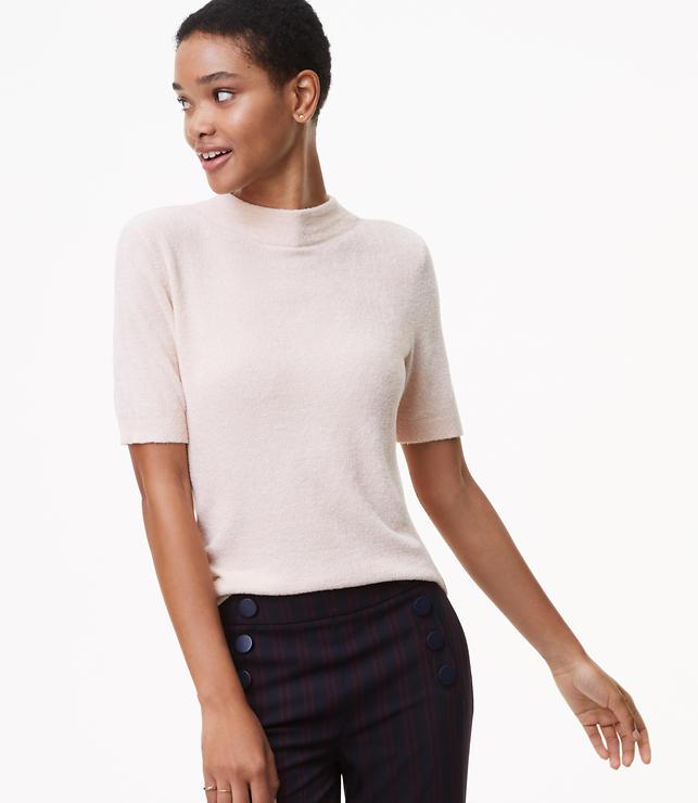 Petite Fuzzy Short Sleeve Sweater